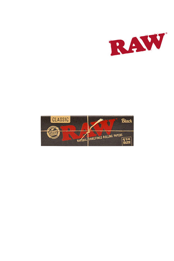 RAW BLACK Natural Unrefined Hemp Papers 1 1/4 Size