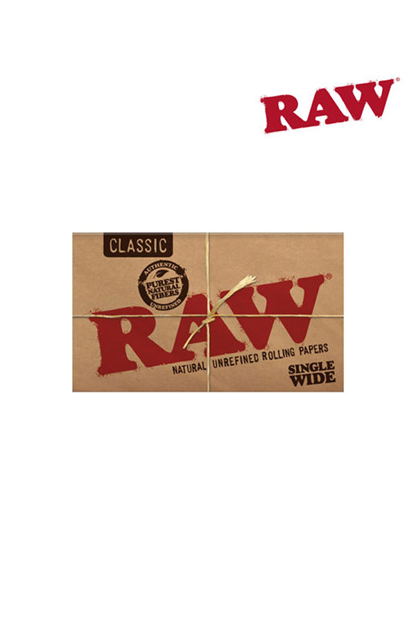 RAW CLASSIC Natural Unrefined Hemp Rolling Papers SINGLE WIDE DO